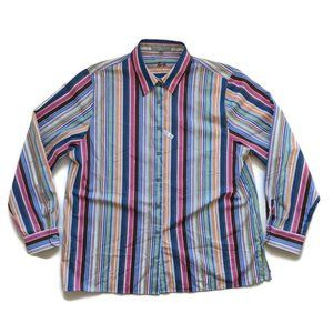 Foxcroft Striped Button Front Career Shirt 18